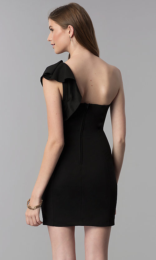 Image of black short one-shoulder party dress with ruffle. Style: EM-FZN-3405-001 Back Image
