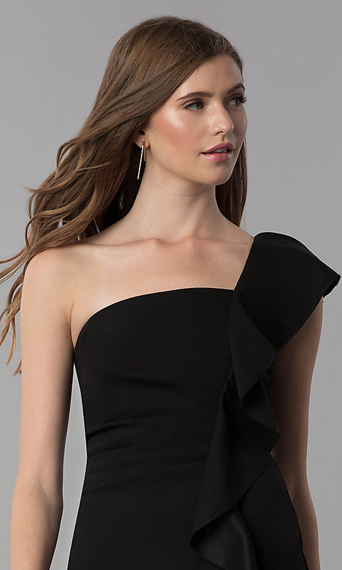 Image of black short one-shoulder party dress with ruffle. Style: EM-FZN-3405-001 Detail Image 1