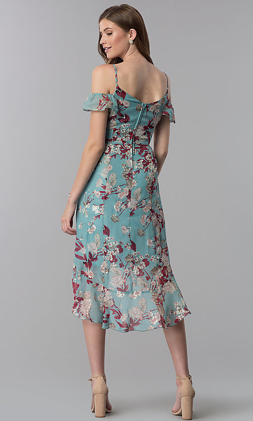 Image of knee-length high-low wedding-guest party dress. Style: EM-FXX-3776-442 Back Image