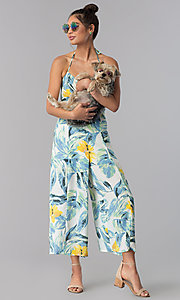 Image of floral-print cropped halter casual jumpsuit. Style: AS-JH-J5050D77G90 Front Image