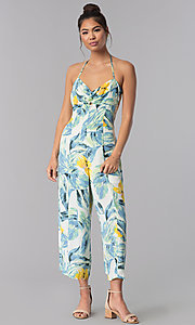 Image of floral-print cropped halter casual jumpsuit. Style: AS-JH-J5050D77G90 Detail Image 1