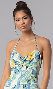 Image of floral-print cropped halter casual jumpsuit. Style: AS-JH-J5050D77G90 Detail Image 2