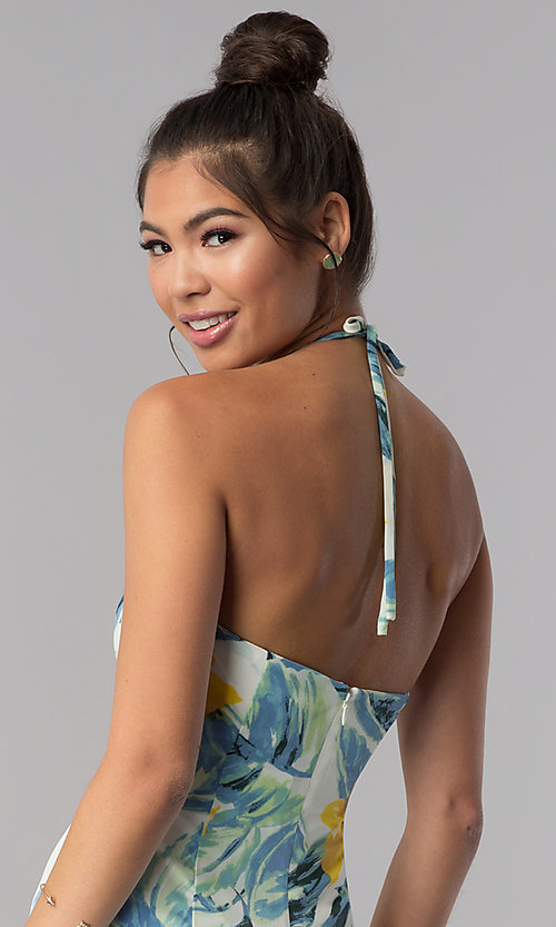 Image of floral-print cropped halter casual jumpsuit. Style: AS-JH-J5050D77G90 Detail Image 3