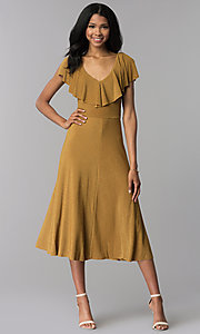 Image of tea-length gold v-neck party dress. Style: AS-JH-J4073 Front Image
