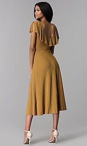 Image of tea-length gold v-neck party dress. Style: AS-JH-J4073 Back Image