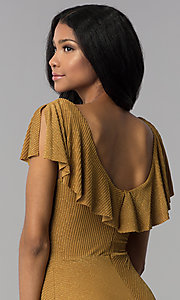 Image of tea-length gold v-neck party dress. Style: AS-JH-J4073 Detail Image 2