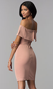 Image of ribbed-knit off-the-shoulder short wedding guest dress. Style: AS-JH-IJ3930 Back Image