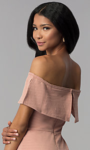 Image of ribbed-knit off-the-shoulder short wedding guest dress. Style: AS-JH-IJ3930 Detail Image 3