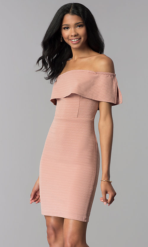 Image of ribbed-knit off-the-shoulder short wedding guest dress. Style: AS-JH-IJ3930 Detail Image 1