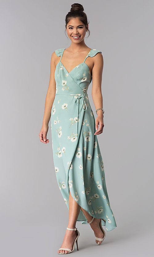 Image of long faux-wrap floral-print casual dress. Style: AS-JH-J512577A62 Front Image