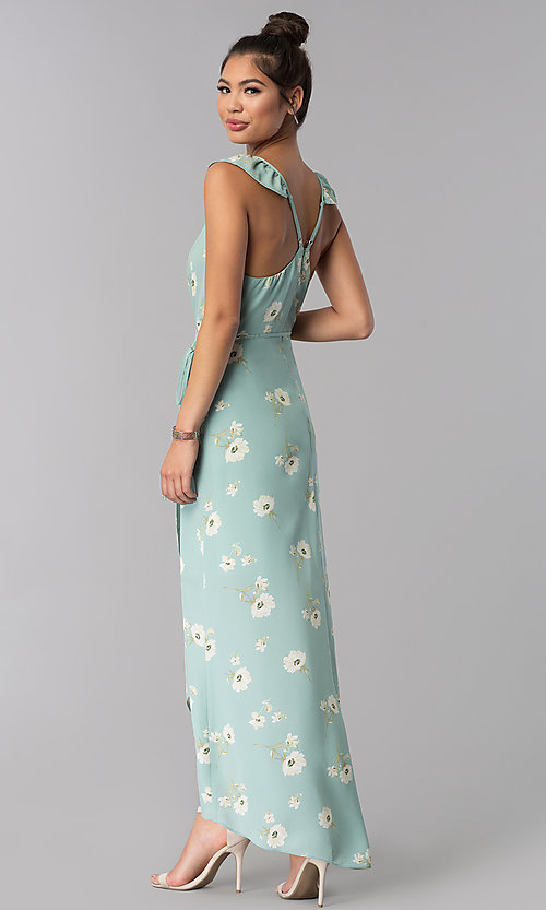 Image of long faux-wrap floral-print casual dress. Style: AS-JH-J512577A62 Back Image