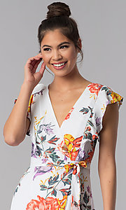 Image of maxi-length faux-wrap floral-print casual dress. Style: AS-JH-J5146D77H25 Detail Image 1