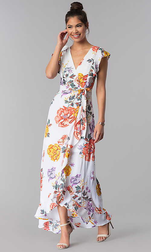 Image of maxi-length faux-wrap floral-print casual dress. Style: AS-JH-J5146D77H25 Front Image
