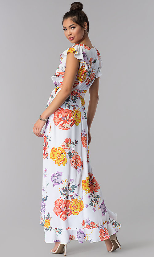Image of maxi-length faux-wrap floral-print casual dress. Style: AS-JH-J5146D77H25 Back Image