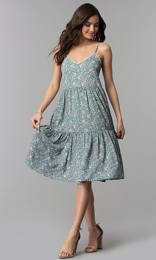 Image of floral-print casual knee-length dress. Style: AS-JH-J526745C38 Detail Image 3