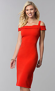 Image of knee-length red cold-shoulder wedding guest dress. Style: ECI-719238-7197 Front Image