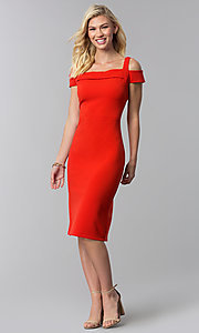 Image of knee-length red cold-shoulder wedding guest dress. Style: ECI-719238-7197 Detail Image 3