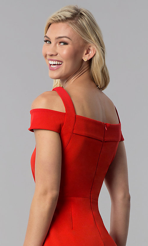 Image of knee-length red cold-shoulder wedding guest dress. Style: ECI-719238-7197 Detail Image 2
