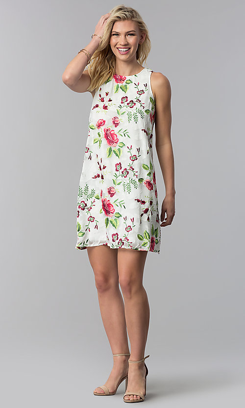 Image of embroidered short shift casual party dress. Style: ECI-518935-8250NL Detail Image 3