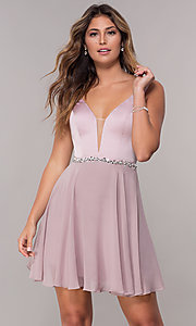 Image of chiffon short v-neck homecoming dress by PromGirl. Style: FB-PL-GS1601 Front Image