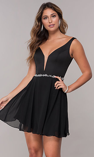 Short Chiffon V-Neck Homecoming Dress by PromGirl