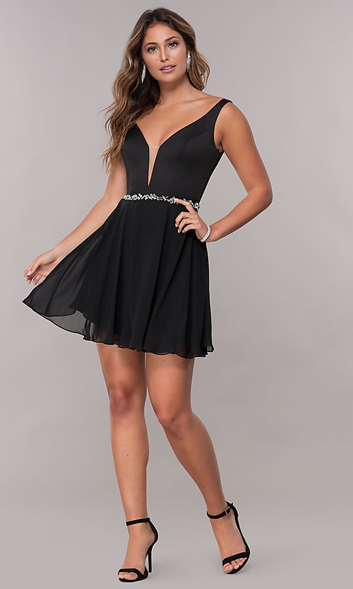 Image of chiffon short v-neck homecoming dress by PromGirl. Style: FB-PL-GS1601 Detail Image 2