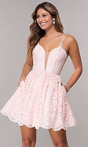 Image of lace short scalloped-hem homecoming dress. Style: FB-GS1602 Front Image