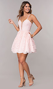 Image of lace short scalloped-hem homecoming dress. Style: FB-GS1602 Detail Image 2