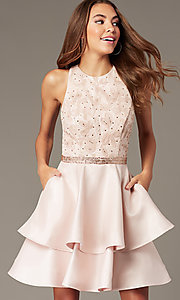 Image of sequin-and-rhinestone-bodice short homecoming dress. Style: FB-GS1603 Front Image