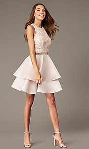 Image of sequin-and-rhinestone-bodice short homecoming dress. Style: FB-GS1603 Detail Image 1