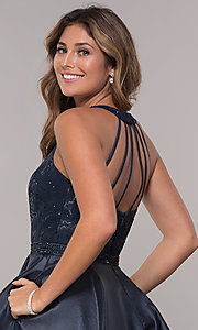 Image of sequin-and-rhinestone-bodice short homecoming dress. Style: FB-GS1603 Detail Image 2