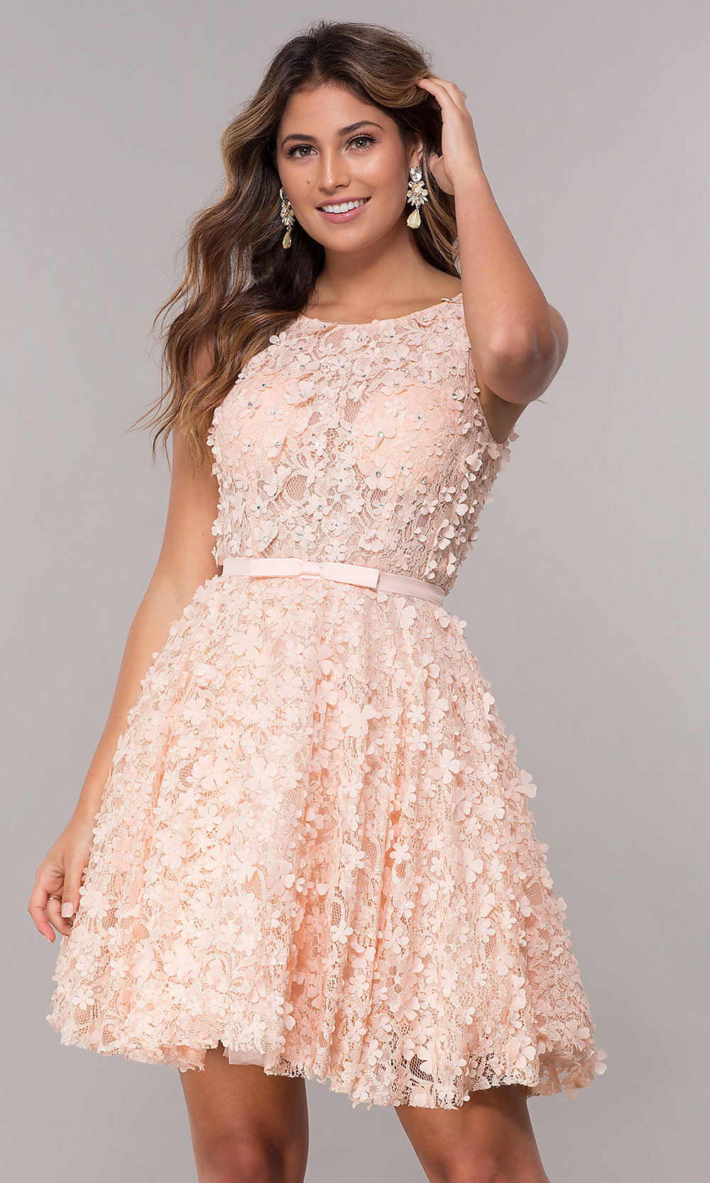 Homecoming Dress with 3-D Floral Applique - PromGirl d110e41ef