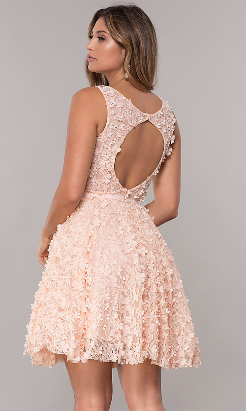 Image of short lace homecoming dress with 3-D floral applique. Style: FB-GS1604 Back Image