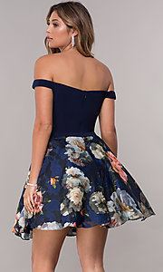Image of off-the-shoulder print-skirt homecoming short dress. Style: FB-GS1605 Back Image