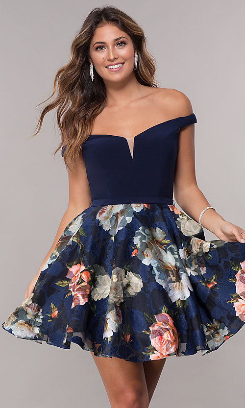 Image of off-the-shoulder print-skirt homecoming short dress. Style: FB-GS1605 Front Image