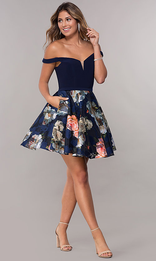 Image of off-the-shoulder print-skirt homecoming short dress. Style: FB-GS1605 Detail Image 3