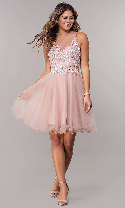 Image of embroidered-bodice short homecoming tulle dress. Style: FB-GS1607 Detail Image 3