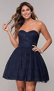 Image of strapless sweetheart short homecoming dress. Style: FB-GS1611 Front Image