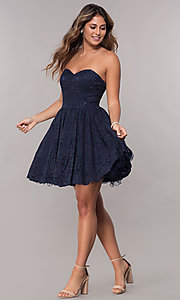 Image of strapless sweetheart short homecoming dress. Style: FB-GS1611 Detail Image 1