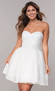 Image of strapless sweetheart short homecoming dress. Style: FB-GS1611 Detail Image 3