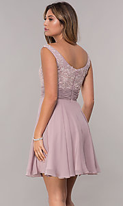 Image of sabrina-neckline short sleeveless homecoming dress. Style: FB-GS1612 Back Image