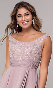 Image of sabrina-neckline short sleeveless homecoming dress. Style: FB-GS1612 Detail Image 1