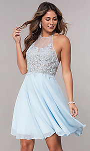 Image of embroidered-halter-bodice short homecoming dress. Style: FB-GS1613 Front Image