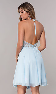 Image of embroidered-halter-bodice short homecoming dress. Style: FB-GS1613 Back Image