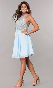 Image of embroidered-halter-bodice short homecoming dress. Style: FB-GS1613 Detail Image 3