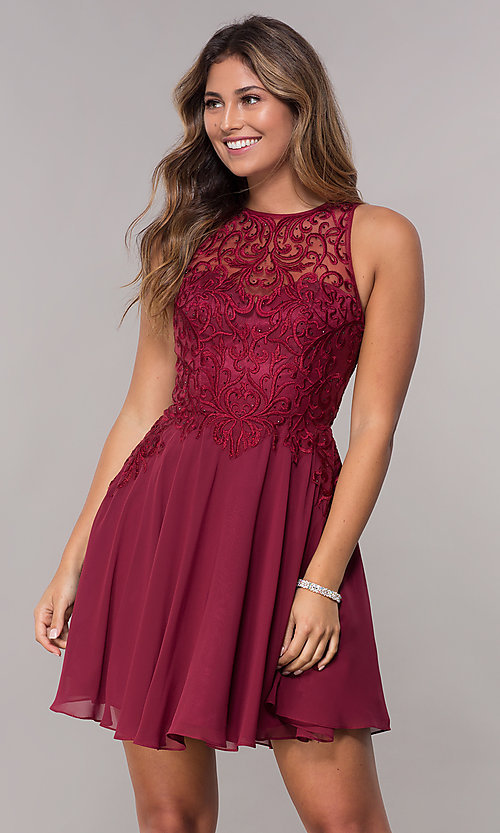 Image of embroidered-bodice chiffon homecoming short dress. Style: FB-GS1618 Detail Image 2