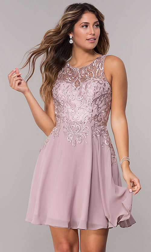 Image of embroidered-bodice chiffon homecoming short dress. Style: FB-GS1618 Front Image