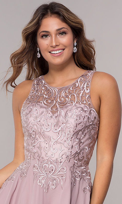 Image of embroidered-bodice chiffon homecoming short dress. Style: FB-GS1618 Detail Image 1