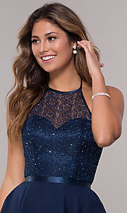 Image of high-neck embroidered-halter short homecoming dress. Style: FB-GS1621 Detail Image 2