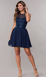 Image of high-neck embroidered-halter short homecoming dress. Style: FB-GS1621 Detail Image 3